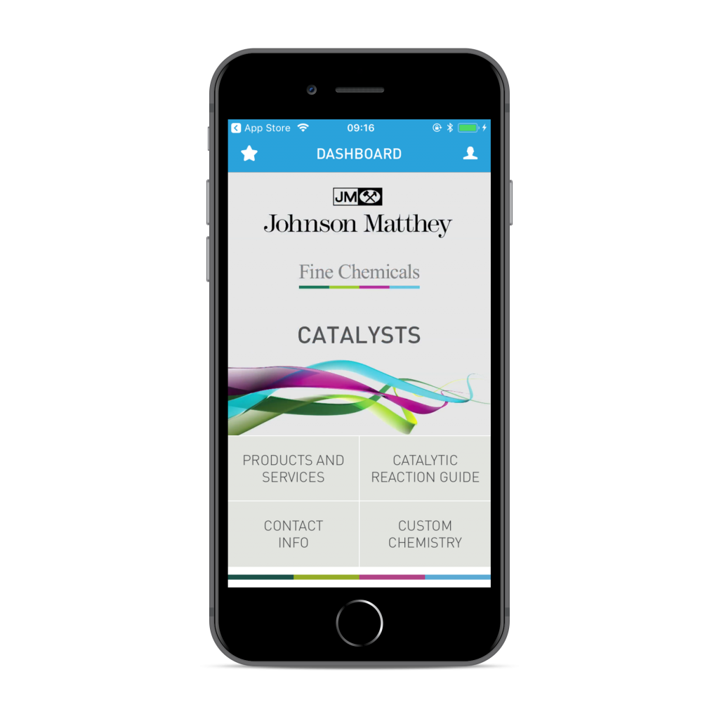 Iphone app mockup showing how Johnson Matthey app works